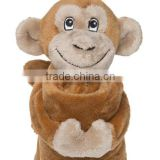 stuffed monkey blankets/Professional design stuffed animal toy soft plush monkey baby toy holding a blanket