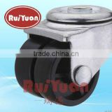 Institutional Twin Wheel Bolt Hole Castor with black plastic Tyre