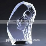 2015 hot sale wholesale engraved crystal iceberg girl face inside with for gift & souvenir