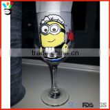Humorous Gift Long Stem Hand Painted Funny Glass Sippy Wine Cup