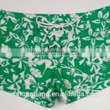 sexy girl xxx bikini vitality green color print fabric for ready-made women's board shorts