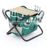8 Piece Garden Tool Set W/ Tool Bag Folding stool & Trowel Transplanter Cultivator Weeding Fork Weeder Pruner All-in-one
