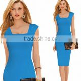 Summer Work Office Dress Plus Size Bodycon Sheath Square Neck Sleeveless Midi Knee-length 6XL Ladies Vestidos