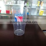 personalized cheap plastic beer mug glass with logo without handle
