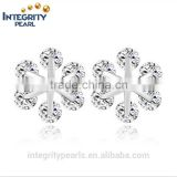 Alibaba website hot big high quality cute zircon flower crystal sterling silver earring findings