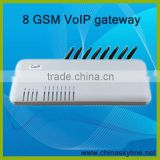 Free global roaming for 8 SIM Card GSM VoIP Gateway