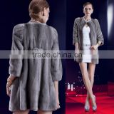 Noble long winter women grey natural mink fur coat with OEM Service