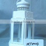 White metal lantern with clear glass wall