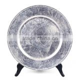 Wholesale Wedding Plastic Charger Plate/silver plastic charger plate/silver beaded clear glass charger plates