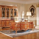 Luxury Executive Office Desk, Retro Wood Carving Office Table/Writing Desk, Graceful Home Office Furniture Set