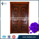 Solid oak Double Swing Main Entrance Wooden Door With Painting