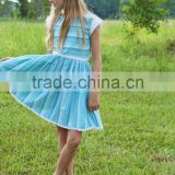 Girls Remake Boutique Back To School Blue Striped Dress 100 % Cotton Lace Dress