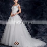 Hand-made Beadings and 3D flower long tail ball gown wedding dress sash sexy wedding gowns