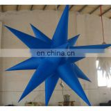 Inflatable blue star with remote controlled LED light bulb for advertising display