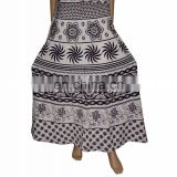 Hippie Boho Gypsy Batik Cotton Wrap Around Skirt Dress Hippie Boho Indian Cotton Designer Printed Animals Wraparound Women's