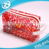 Transparent Pvc With Customized Printed Cubic shape Pvc Cosmetic Bag