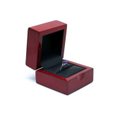 Wooden ring box painting in red glossy, wrapped black PU inside, with screen printing logo