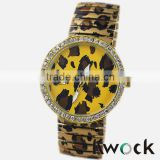 Fashionable Woman Girl Student's Bracelet Wrist Watches Ladies leopard Print Elastic Stretch Watchband watch