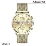 axgero 2016 fashion mesh men's stainless steel chronograph feature chain wrist watch