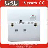 1 gang wall socket with neon/13A Switched socket with light Hot sale Wall Switch, British Standard