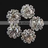 20MM Wholesales Bulk Cheap Silver Plated Alloy Snowflake Crystal Rhinestone Button For Baby Girl Jewelry Garment Accessory