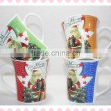 microwave safe promotional ceramic christmas mugs with handle