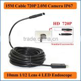 15M Cable Length 10mm Lens 4 LEDs HD 1080*720P 2.0M Camera Waterproof IP66 USB Borescope Endoscope Inspection Tube Snake Camera