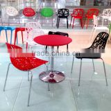 High quality leisure style powdercoat steel tubes cut out PP chair/ Plastic living room chair