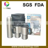 wholesale drinkware gift set with two insulated travel coffee mugs and vacuum thermos flask into leather bag or gift box