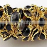 3 Feet Natural Agate Black Onyx Stone 15x12-10x9mm Oval Smooth 24k Gold Plated Jewelry Making Connector Link Chain