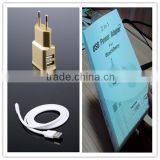 OEM black white gold logo printing retail package with micro cable US EU plug 5v 1.5a wholesale mini usb wall charger