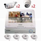 Poe 1.0 megapixel nvr kit ip camera system 4ch 960p nvr kit with monitor 4pcs poe cameras pnp onvif cloud