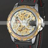 New WINNER Hollow Engraving Skeleton Casual Design Black Golden Case Rubber Strap Watches Men Luury Brand Automatic Watches