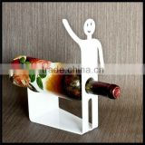 High end little man shape white acrylic wine bottle display stand
