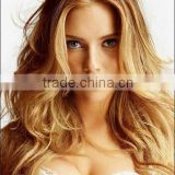 blonde color long wave human hair Jewish wigs silk top kosher wig
