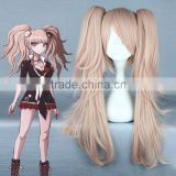 Quality Girls Long Curly Pink Manga Super Danganronpa 2 Cosplay Junko Enoshima Wig Ponytails