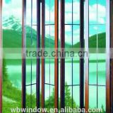 Double glass interior PVC accordion brown color doors grills design,Plastic sheets for PVC folding doors