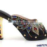 CSB7171 2016 new design Italian style hot selling beautiful high quality high heel sandals with stone for matching clothes