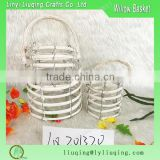 Round Wicker lantern /Hanging glass candle lanterns/White wood candle lanterns with glass bottle