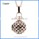 Rhinestone Pave Metal Hollow Cage Chime Box Lucky Music Sound Charm Bell Pregnant Necklaces BAC-M041