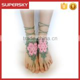V-999 Boho Beach Wedding Barefoot Sandals Crochet Cotton Barefoot Sandals Beach Bridal Foot Jewelry