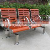 Stainless steel and wooden 3-seater bench seat outdoor