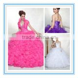 Beautiful Strapless Organza White Quinceanera Dress Little Girls(QUMO-1005)                                                                         Quality Choice