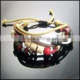 100% good quality beautiful shamballa riligious budda bead stretching leather cord bracelet