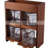 Wooden Bamboo Salt Pepper Spice Rack with 4 Big Glass or Acrylic Spice Bottles