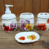 4 Pcs Ceramic Bathroom Accessories Set, Shampoo Dispenser & Cup & Toothbrush Holder & Soap Dish Set