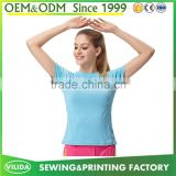 Factory Price Hot Sale Women Sport Gym Dri Fit 100% Polyester 160g Stylish Blank T-shirt