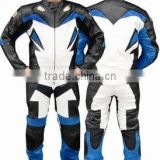 2pc Motorcycle Racing Riding Leather Track Suit w/ Armor New Blue/White/Black -Medium