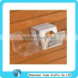 Clear slatwall CD storage box, acrylic showing organizer for books tapes display