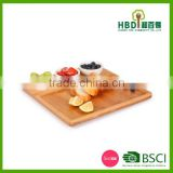 Bamboo chip and dip tray with ceramic bowl